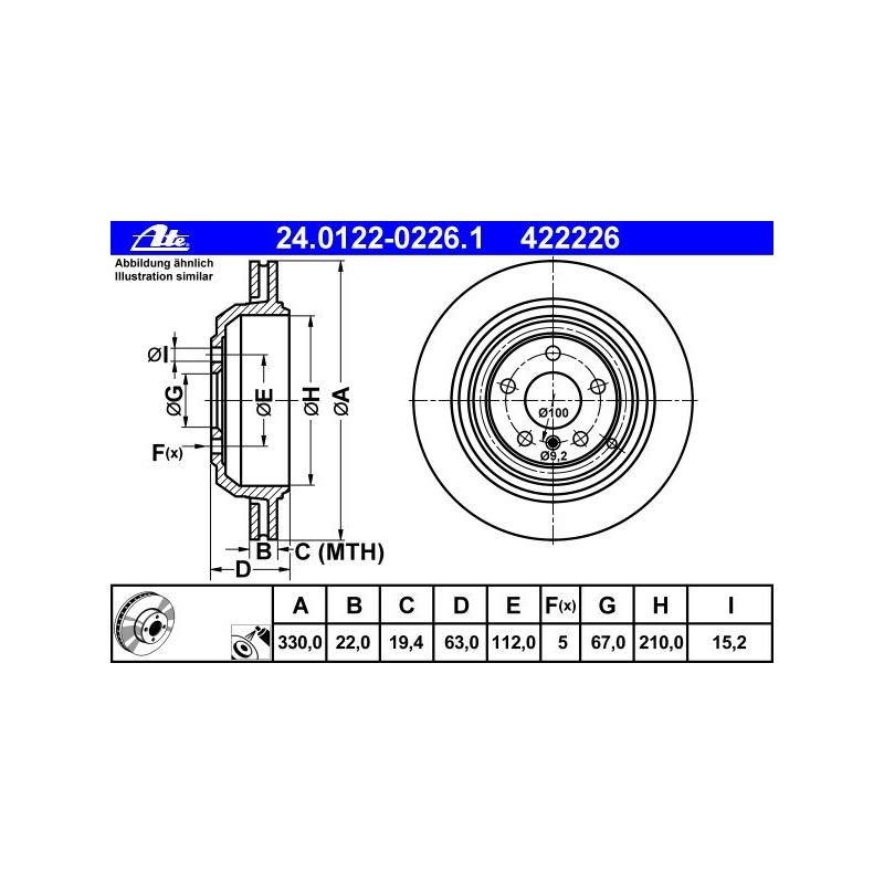 ATE BREMSSCHEIBEN Ø330mm+BELÄGE HINTEN MERCEDES M+R-KLASSE ML W164 W251 V251
