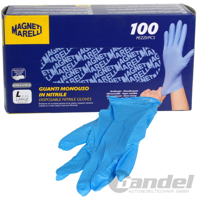 MAGNETI MARELLI ARBEITS-EINWEG-HANDSCHUHE 100 stk. NITRIL PUDERFREI Gr.L