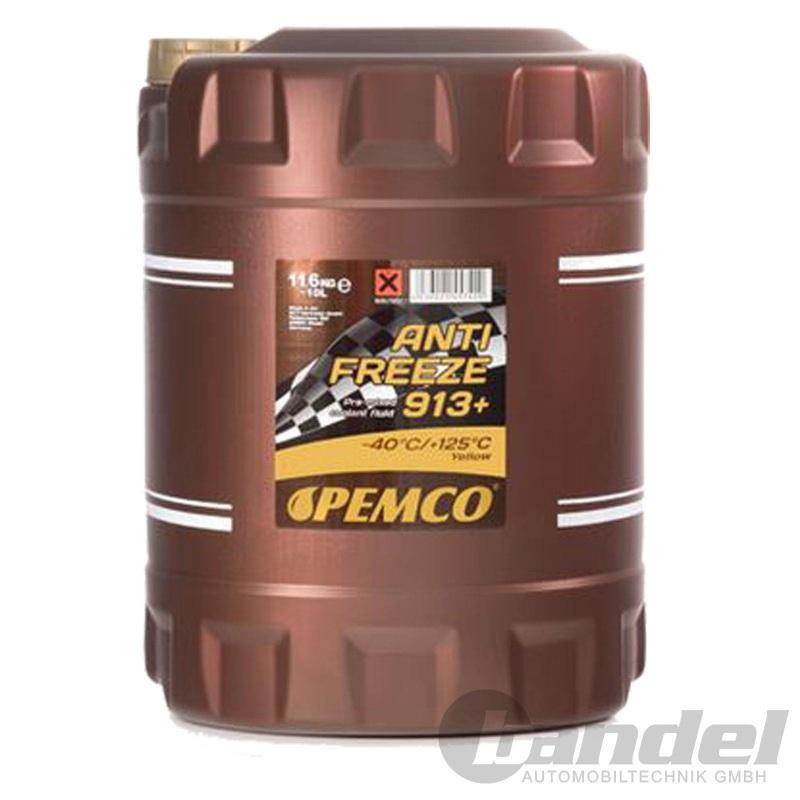 10 Liter PEMCO 913+ bis -40°C GELB KÜHLERFROSTSCHUTZ KÜHLMITTEL KÜHLWASSER G13+