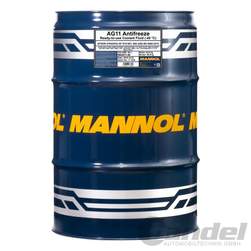 60 Liter Fass Mannol Kühlerfrostschutz Ag11 Blau 40 C Vw G11 Basf G