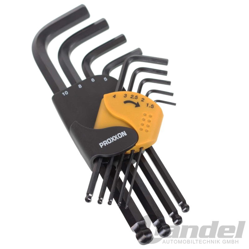 Proxxon Winkelschlüsselsatz für Innensechskant-Schrauben 9-tlg. 1,5 bis 10 mm