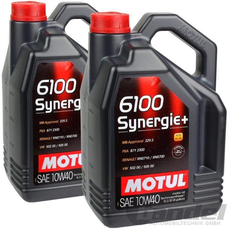 2x 5L MOTUL 6100 SYNERGIE+ 10W40 ÖL MOTORÖL PORSCHE BMW VW MB 229.3