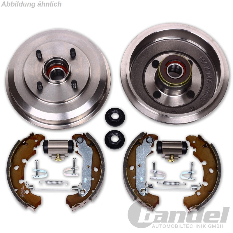 2 Bremstrommeln Radlager Bremszylinder VW Polo 6N //// ohne ABS Bremsbacken