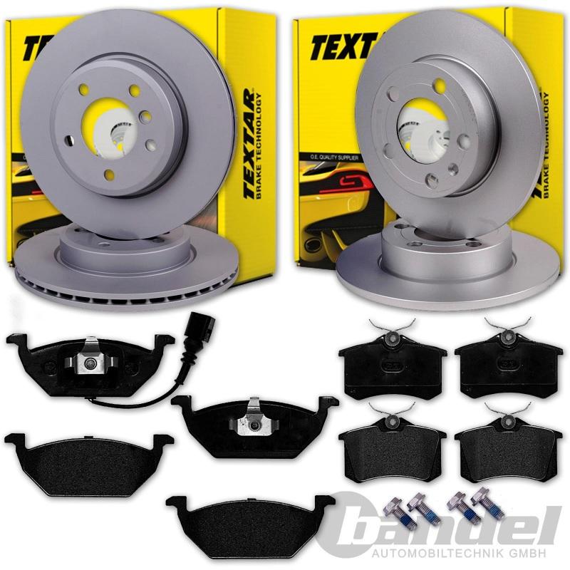 AUDI A4 B6 und B7 Satz für vorne und hinten 280x22mm Textar Bremsbeläge mit Wkt