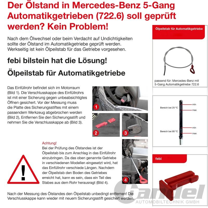 FEBI Ölpeilstab Automatikgetriebe Für MERCEDES Sprinter 6-T Kasten 1405891521