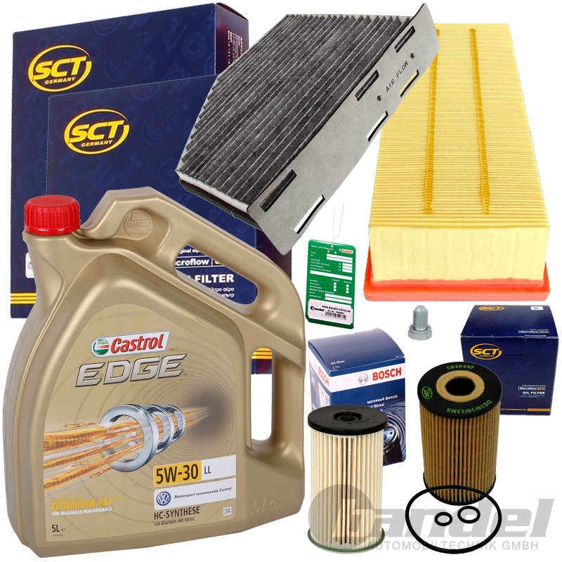 inspektionspaket filter set+castrol 5w30 1.6+2.0 tdi vw touran passat 3c