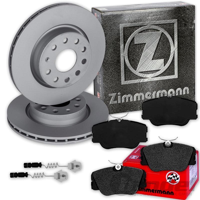 ZIMMERMANN BREMSSCHEIBEN + BELÄGE VORNE MERCEDES E-KLASSE W124 + 190er W201