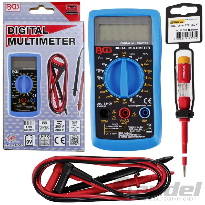 BGS DIGITAL-MULTIMETER MESSGERÄT AC/DC 250V VOLT-/AMPERE-METER 10A +PHASENPRÜFER