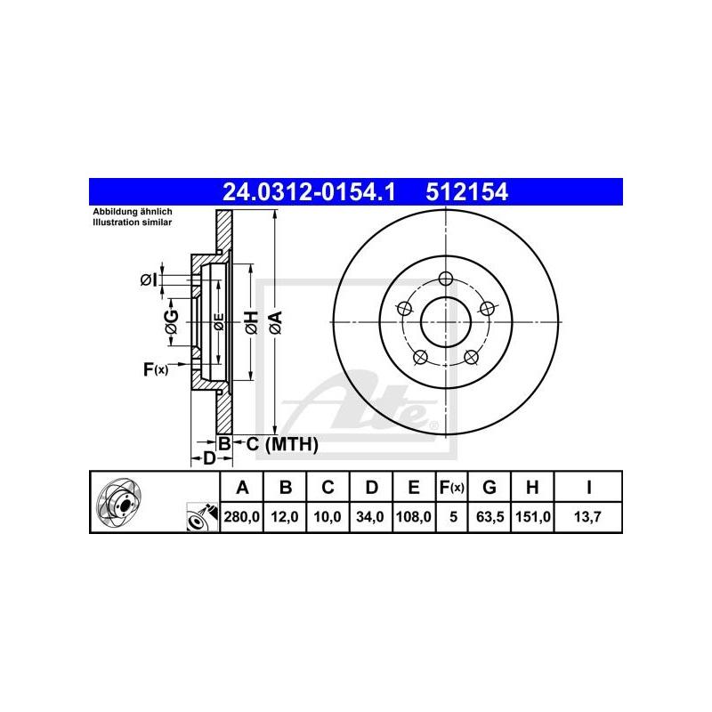 JAGUAR X-TYPE ab 09//04 ATE POWERDISC SCHEIBEN Ø280mm+BELÄGE HINTEN FORD MONDEO
